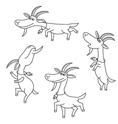 Goat figures on white background vector