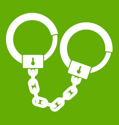 handcuffs icon green vector image