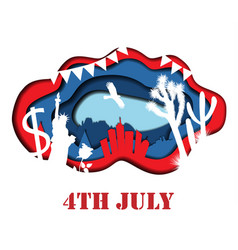 happy 4th july 3d abstract vector image
