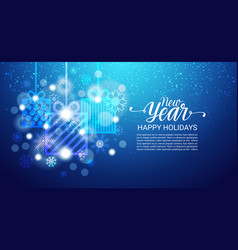 Happy holidays poster shiny bokeh snoflakes on vector