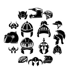 helmet icons set simple style vector image