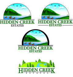 Hidden creek logos vector