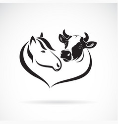 horse head and cow head design on a white vector image