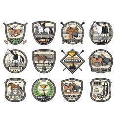 Horse races equine jockey polo sport icons vector