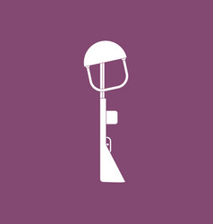 Icon military rifle and helmet vector