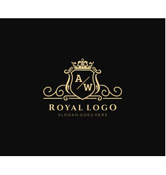 Initial aw letter luxurious brand logo template vector