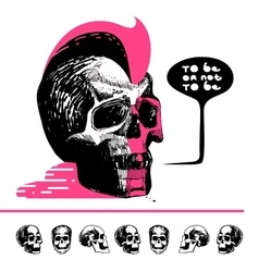Ink drawn skull with mohawk T-shirt vector