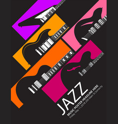 Jazz festival music background with a generic guit vector