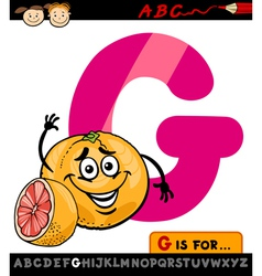 letter g with grapefruit cartoon vector image