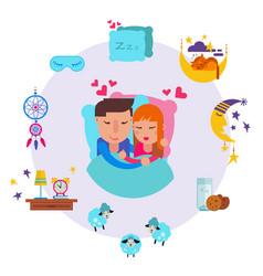 loving man and woman sleeping together vector image