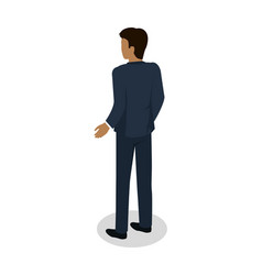 Male in business suit standing back flat design vector