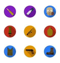 Military and army set icons in flat style Big vector image