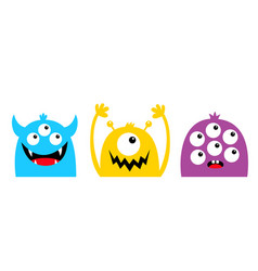 Monster head face colorful silhouette set line vector