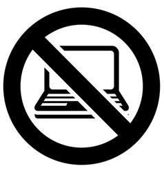 Not use laptop forbidden sign modern round sticker vector