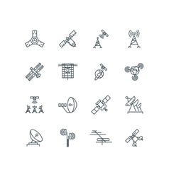 Orbit communication satellite line icons vector image