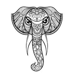 Ornamental head elephant ethnic vector