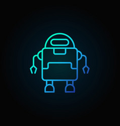 Outline robot blue concept icon on dark vector