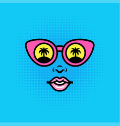 positive pop art style girl or woman face in vector image