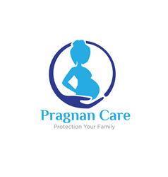 Pregnant care logo protection mom and baby vector