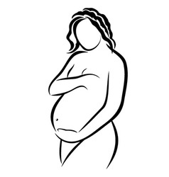Pregnant woman sketch vector image