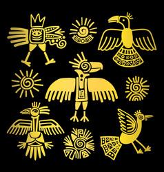 primitive tribal golden birds paintings vector image