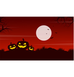 pumpkin at night halloween landscape vector image