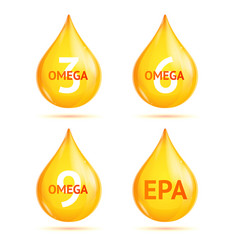 realistic 3d detailed omega fat drop set vector image