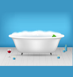 Realistic detailed 3d bathroom bathtub with foam vector