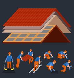 Roconstruction worker repair home build vector