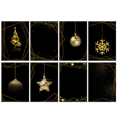 set christmas gold luxury greeting cards vector image