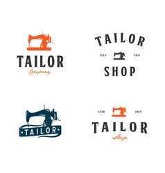 set collection of tailor shop logo inspiration vector image