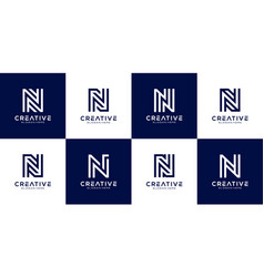 set initial n abstract logo template vector image