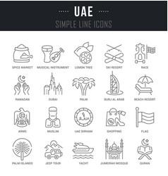 Set line icons uae vector