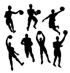 Set of basketball players silhouette vector image