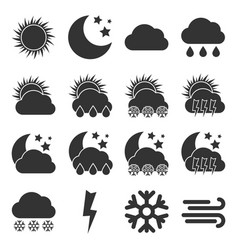 set of sixteen weather icons vector image