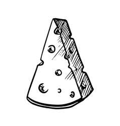 Slice of cheese with holes sketch image vector image