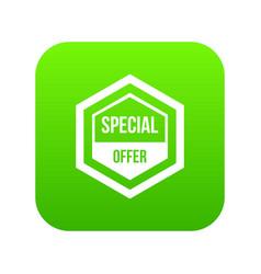 special offer pentagon icon digital green vector image