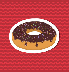 sticker of glazed donut on red striped background vector image