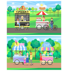 Street food carts with vendors in green park set vector