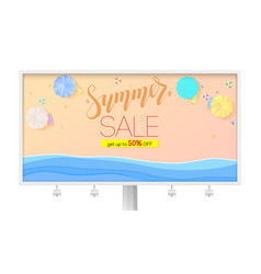 summer sale billboard with seashore sandy beach vector image