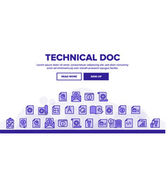 Technical documentation thin line icons set vector