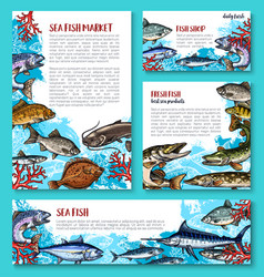 Template for fresh fish seafood market vector