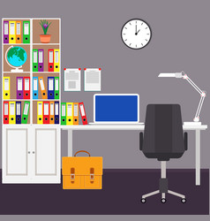 The home workplace of the businessman desk laptop vector