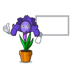 Thumbs up with board iris flower character cartoon vector