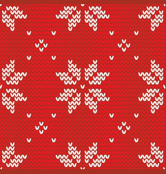 Tile red and white knitting pattern or winter vector