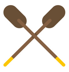 two wooden crossed oars icon isolated vector image