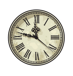 vintage clock face with roman numerals vector image