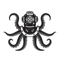 Vintage diver helmet with octopus tentacles vector