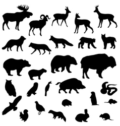 Wild animals set silhouettes vector