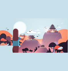 woman traveler photographing chinese pagoda in vector image
